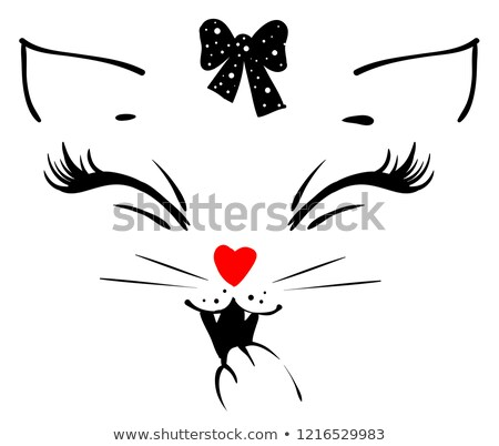 Cute cat girl head says meow and covers his mouth with his paw Stock photo © orensila