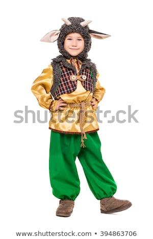 Weinig jongen poseren geit kostuum geïsoleerd Stockfoto © acidgrey