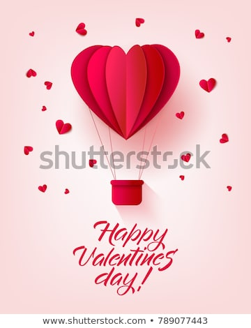 Happy valentines day retro invitation card template with origami paper hot air balloon in heart shap stock photo © olehsvetiukha