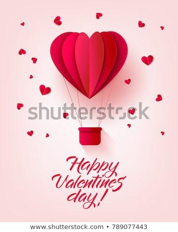 Boldog valentin nap retro meghívó sablon origami Stock fotó © olehsvetiukha