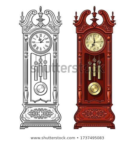 Antika ahşap dede saat yalıtılmış siyah Stok fotoğraf © Lady-Luck