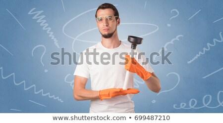 Laranja luvas de borracha rabisco papel de parede casa homem Foto stock © ra2studio