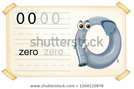 Elephant zero number worksheet Stock photo © colematt