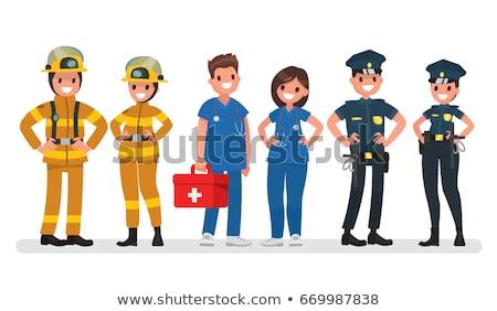 Foto stock: Police Officer Medical Worker Vector Illustration