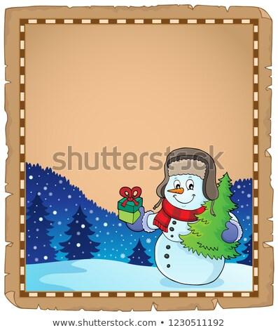 Christmas snowman subject parchment 4 Stock photo © clairev