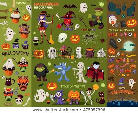 Halloween pumpkin icons, postcard stock photo © lemony