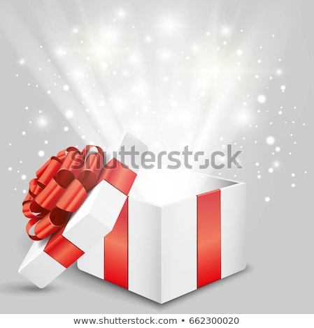 Stock photo: Christmas decoration objects and gift Box with magical lights on