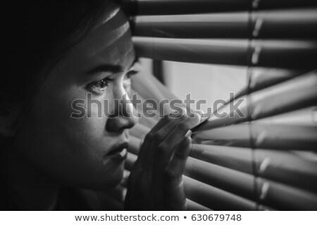 woman is looking through white jalousie Stock photo © ssuaphoto