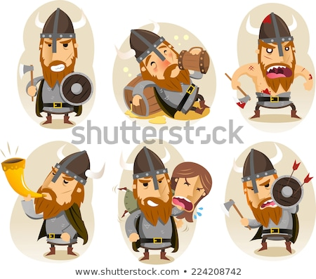 sarhoş · viking · mutlu · karikatür · bira · gülen - stok fotoğraf © cthoman