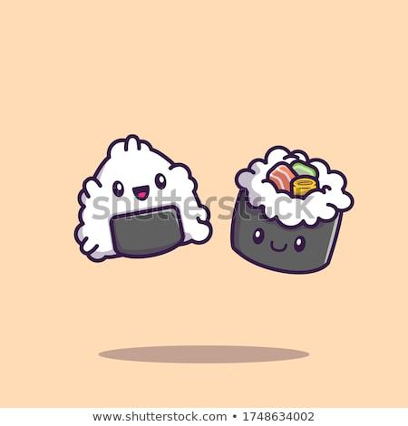 Sevimli sushi rulo karikatür maskot karakter Çin yemek çubukları Stok fotoğraf © hittoon