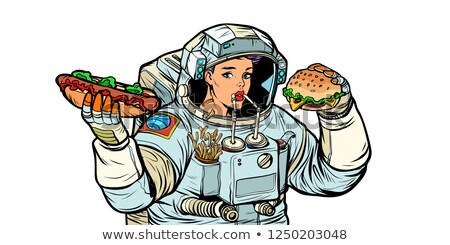Vrouw astronaut cola hot dog hamburger fast food Stockfoto © studiostoks