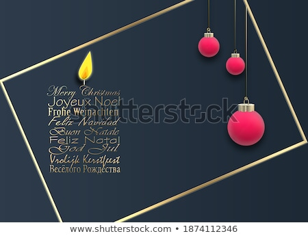 Red christmas ball banner in portuguese language Stock photo © cienpies