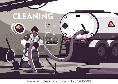Sewer Cleaning service flat poster Stock photo © jossdiim