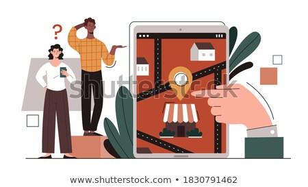 Man route smartphone app moderne gadget Stockfoto © jossdiim