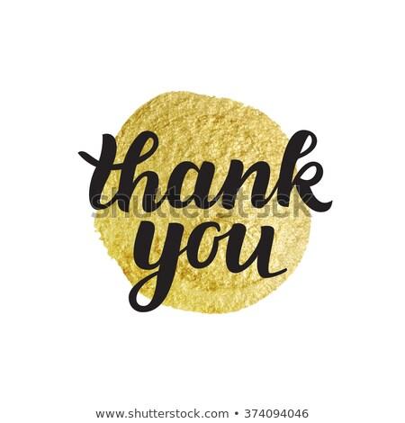 Obrigado cartão gratidão mensagem escrito dourado Foto stock © olivier_le_moal