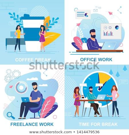 férfi · alszik · munka · mögött · asztal · notebook - stock fotó © robuart
