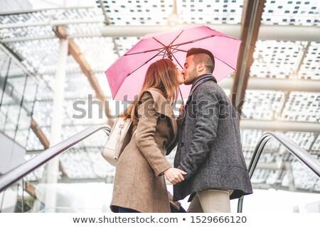 Pláza bejárat esik az eső nap elmosódott földalatti Stock fotó © szefei