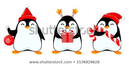 Kicsi karácsony pingvin rajz illusztráció mikulás Stock fotó © cthoman