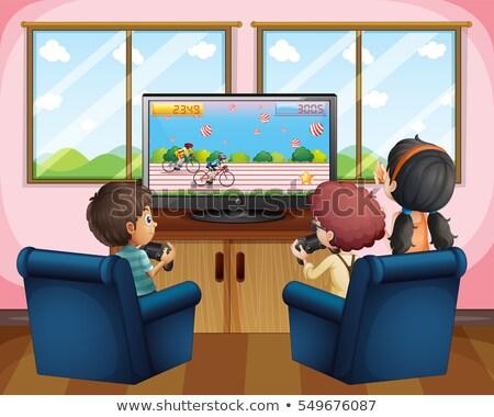 три детей, играющих компьютерная игра домой иллюстрация дома Сток-фото © colematt