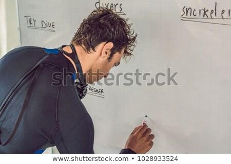 diver writes a marker on the board Stock photo © galitskaya