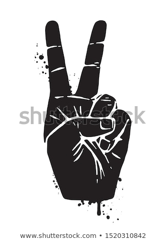 Victory or Peace Hand Sign Drawing Stock photo © patrimonio