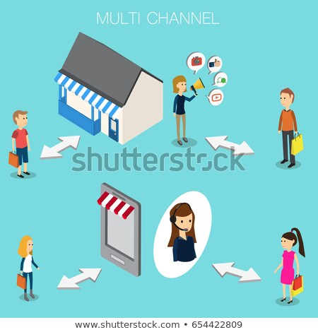 3d man and omni channel concept Stock photo © nasirkhan