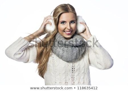 portrait · belle · femme · oreille · écharpe · souriant - photo stock © deandrobot