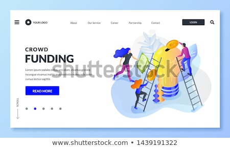 Crowdfunding isometric 3D landing page. Stock photo © RAStudio