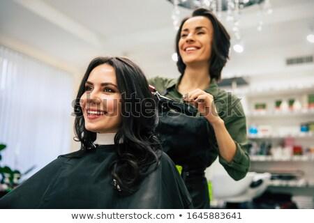 Kadın stilist saç kurutma makinesi müşteri Stok fotoğraf © robuart