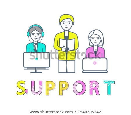 Support Center Poster with Workers Receiving Calls Stock photo © robuart