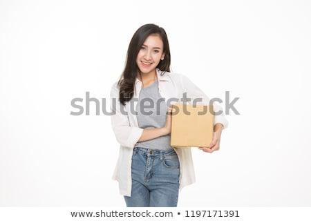 Mulher jovem armazenamento caixas branco menina festa Foto stock © Elnur