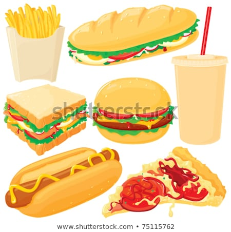 Soft Drink and Hot Dog Set Vector Illustration Stock photo © robuart
