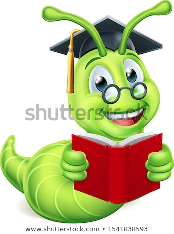 book worm graduate cartoon stock photo © krisdog