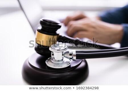 стетоскоп молоток используя ноутбук Сток-фото © AndreyPopov