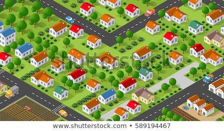 シーン 多くの 住宅 村 実例 道路 ストックフォト © colematt