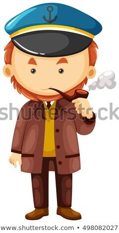 Sea captain in brown overcoat Stock photo © colematt