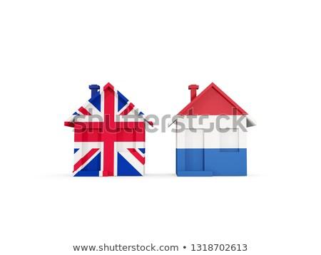 Kettő házak zászlók Egyesült Királyság Hollandia izolált Stock fotó © MikhailMishchenko