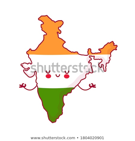 india map vector flag isolated flat cartoon illustration stock photo © pikepicture