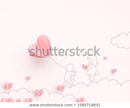 homem · mulher · coração · amor · azul · vermelho - foto stock © robuart