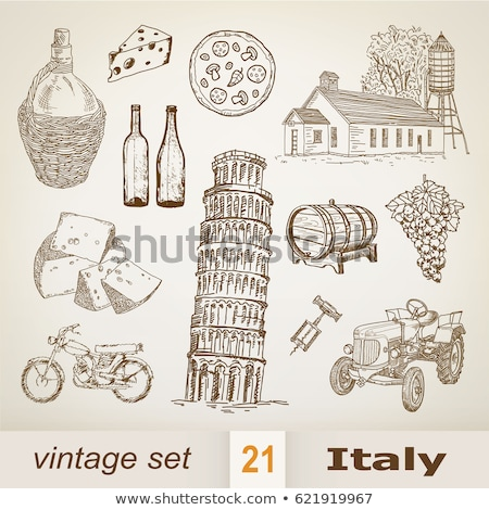 Schets pizza welkom Italië vector hand Stockfoto © Arkadivna