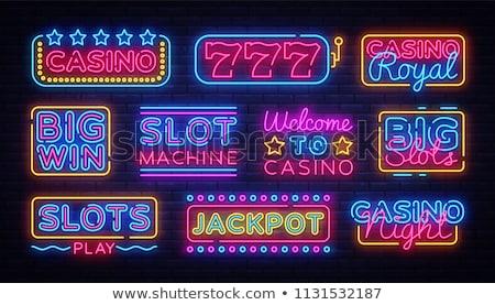 Nagy győzelem neonreklám játék promóció pénz Stock fotó © Anna_leni