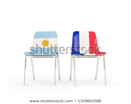 Deux chaises drapeaux France Argentine isolé Photo stock © MikhailMishchenko