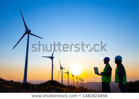 A Technician woman Engineer in Wind Turbine Power Generator Station Stock photo © Lopolo