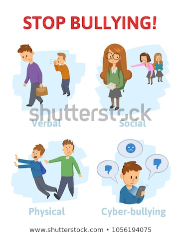 Bully Child Vector. Angry Bully Kid. Teenager Victim. Sad Boy, Girl Child. Illustration Stock photo © pikepicture
