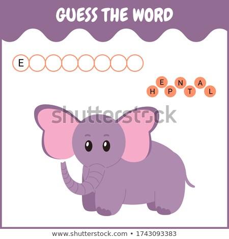 Helyesírás szó játék elefánt illusztráció iskola Stock fotó © colematt