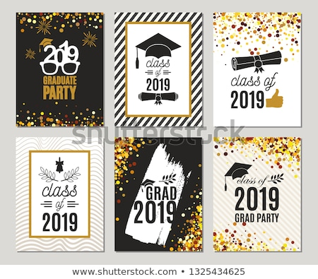 Graduating class of 2019. Poster, party invitation, greeting card in gold colors. Grad poster, vecto Stock photo © ikopylov
