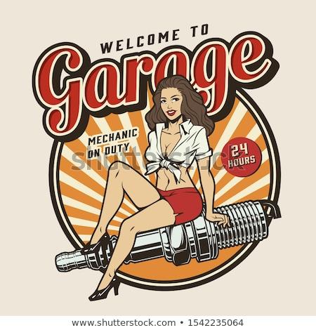 Stockfoto: Color vintage Car repair emblem