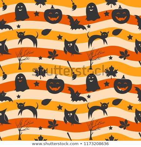 Stockfoto: Halloween Pumpkin Seamless Pattern Vector. Evil Orange Face. Cute Graphic Texture. Textile Backdrop.