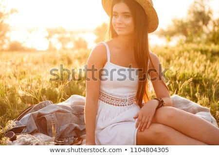Obraz szczęśliwy kobieta długo ciemne włosy Zdjęcia stock © deandrobot