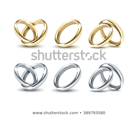 set of gold engagement rings isolated on white background vector stock photo © marysan